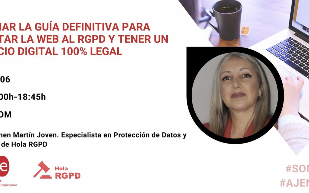 """Webinar AJE Córdoba """"La guía definitiva para adaptar la web al RGPD y tener un negocio digital 100% legal"""""""
